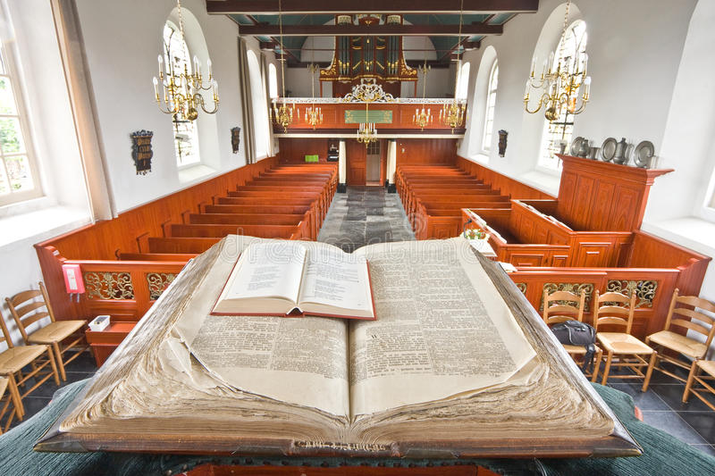 Unique view from the pulpit at the church interior. View from the pulpit at the church interior, this old church is still in use today, there is one service royalty free stock photography