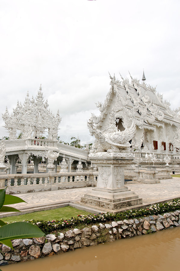 Unique white buddha temple in Thailand royalty free stock photo