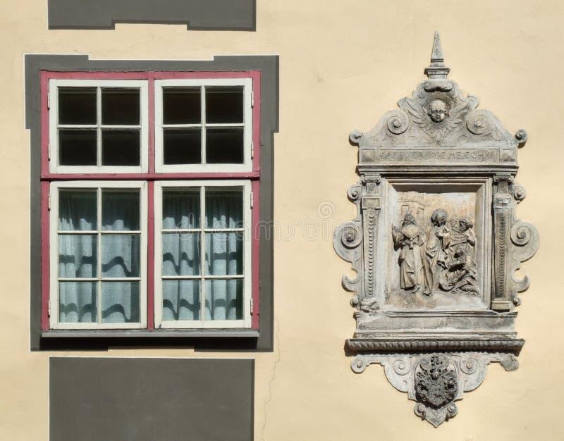 Unique window and decorative emblem stock images