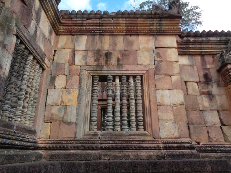 Unique Windows of the Inner Stone Walls of Prasat Muang Tam Ancient Temple Complex, Buriram Province. Of Thailand stock photography
