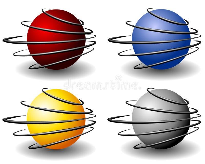 Unique Wire Sphere Balls Logo Stock Image