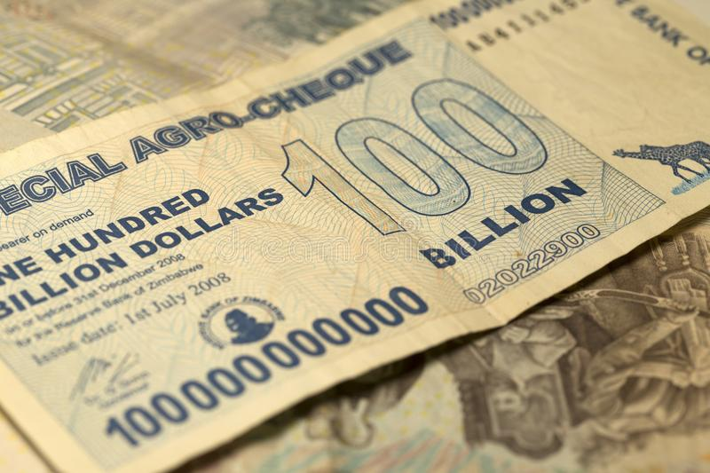 Unique Zimbabwe hyperinflation Banknote one hundred billion Dollars in the Detail, 2008 royalty free stock image