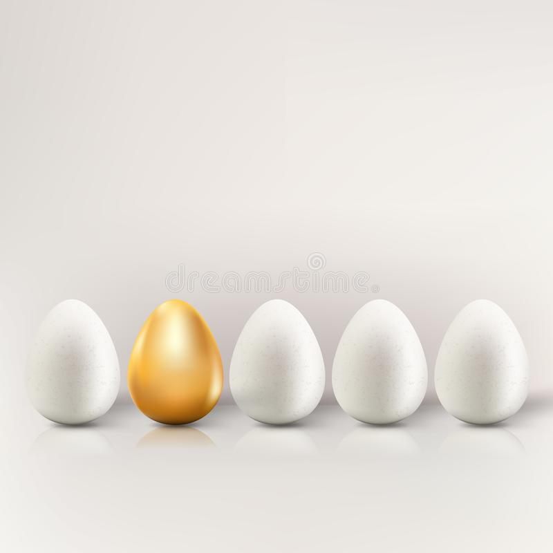 Uniqueness, individuality, different business creative concept. Vector illustration of white eggs and one golden egg stock illustration