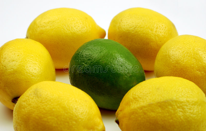 Uniqueness (lemons and lime) stock photo