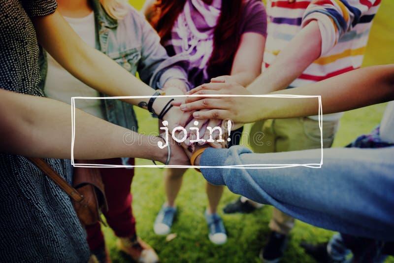 Unire Team Networking Connection Communication Concept fotografia stock libera da diritti