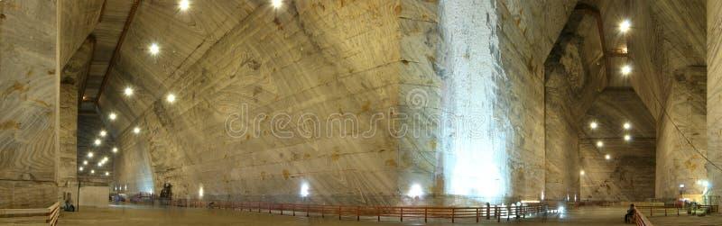Unirea位于斯勒尼克的盐矿全景,普拉霍瓦县,罗马尼亚 库存照片