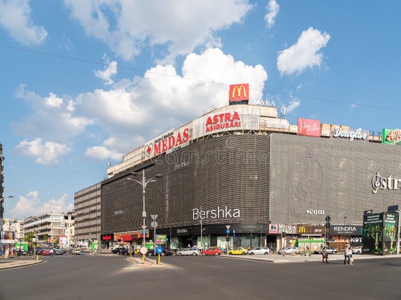 Unirea购物中心购物中心(Magazinul Unirea)在布加勒斯特 免版税库存图片