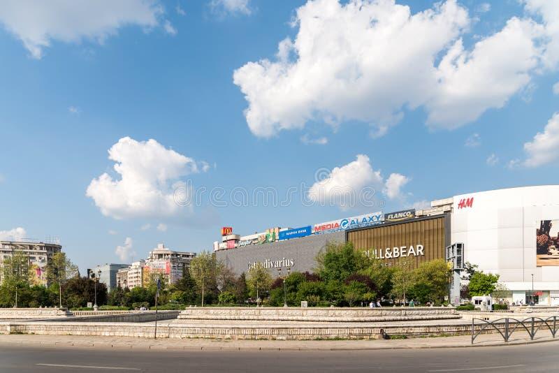 Unirea购物中心购物中心(Magazinul Unirea)在布加勒斯特 库存图片