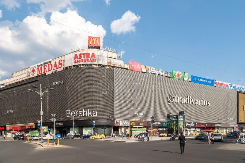 Unirea购物中心购物中心(Magazinul Unirea)在布加勒斯特 免版税图库摄影