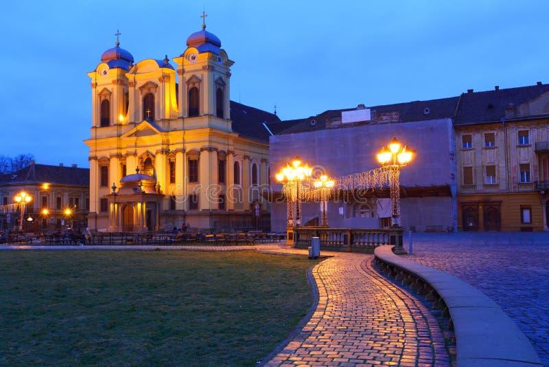Unirii Square of Timisoara. Night falls over Unirii Square in Timisoara, Romania stock photos