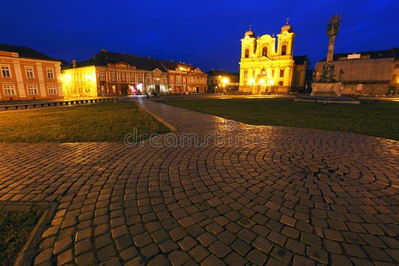 Unirii Square of Timisoara. Night falls over Unirii Square in Timisoara, Romania royalty free stock photo