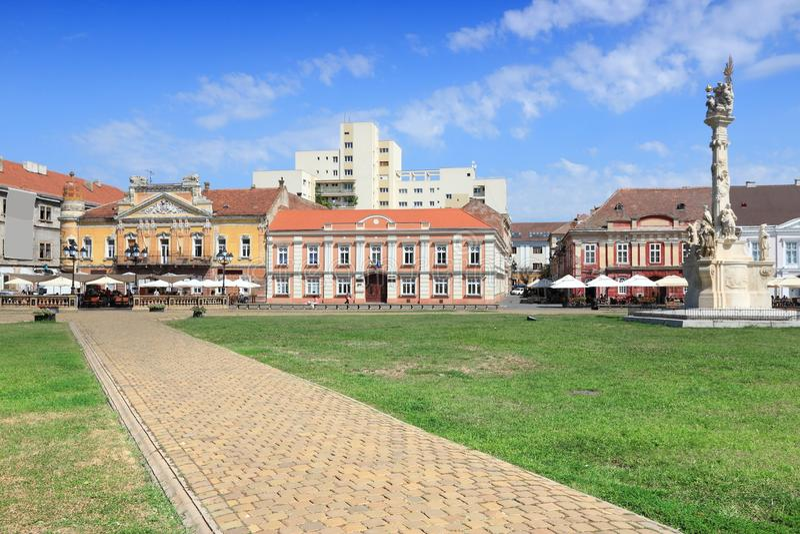 Unirii Square, Timisoara. Unirii Square in Timisoara, Romania. Beautiful city architecture stock photos
