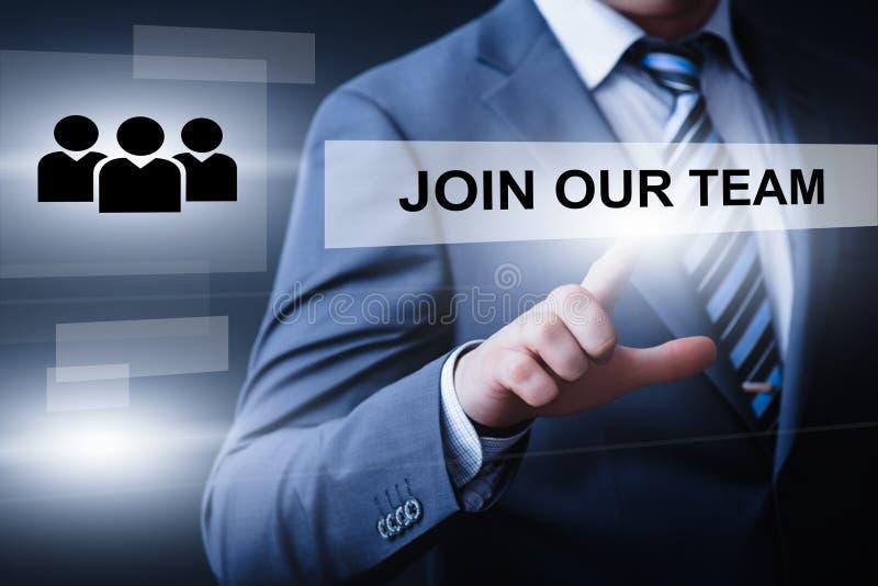Unisca il nostro concetto di Internet di affari di Team Job Search Career Recruitment Hiring fotografia stock libera da diritti