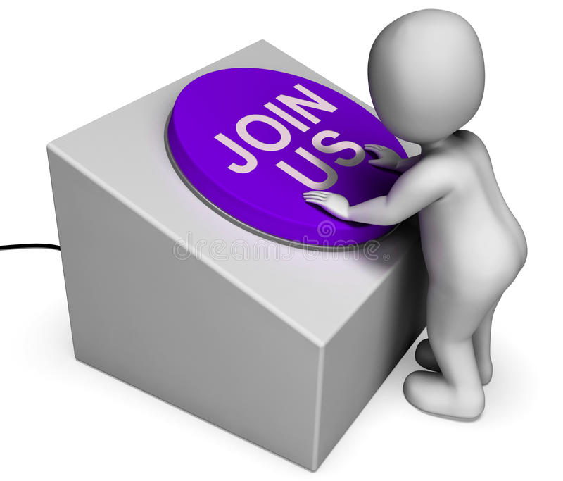 Uniscaci registrazione o la Comunità di manifestazioni del bottone illustrazione di stock