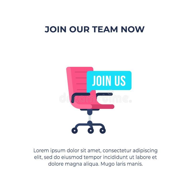 Uniscaci testo con l'illustrazione di vettore della sedia dell'ufficio di offerta di l$voro Concetto di noleggio e di reclutament illustrazione vettoriale