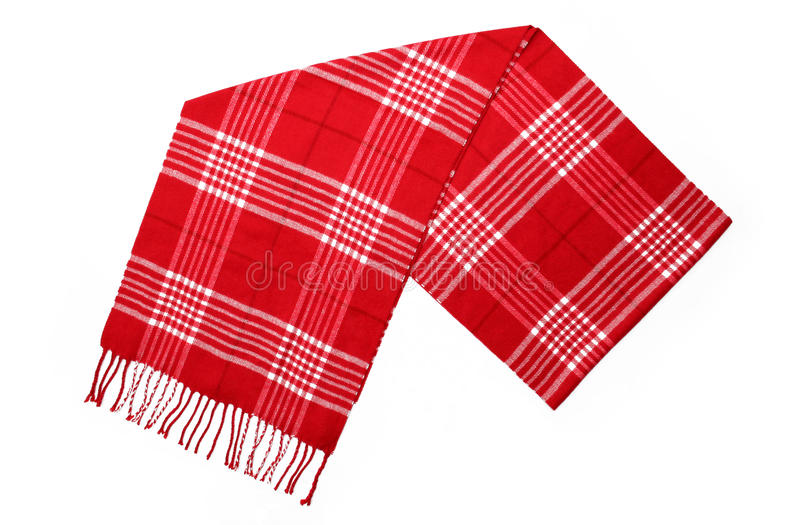 Unisex Cashmere Wool Red Plaid Scarf. With trim stock photography