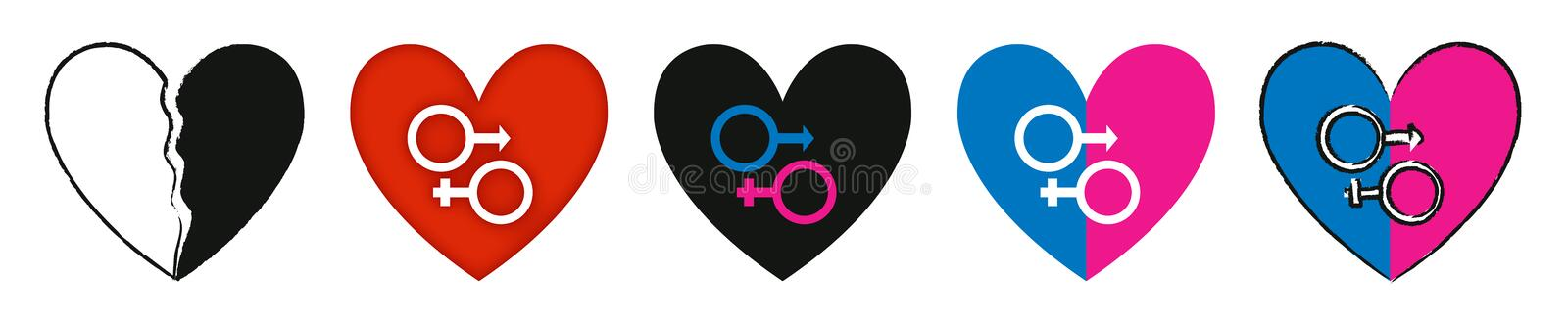 Unisex Heart. In this artwork shown here is the symbol of boy child and girl child in one one heart, like they are made for each other vector illustration