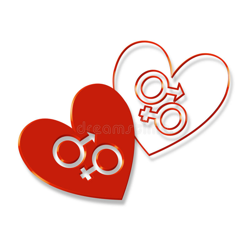 Unisex Hearts. In this artwork shown here is the symbol of boy child and girl child in one one heart, like they are made for each other stock illustration