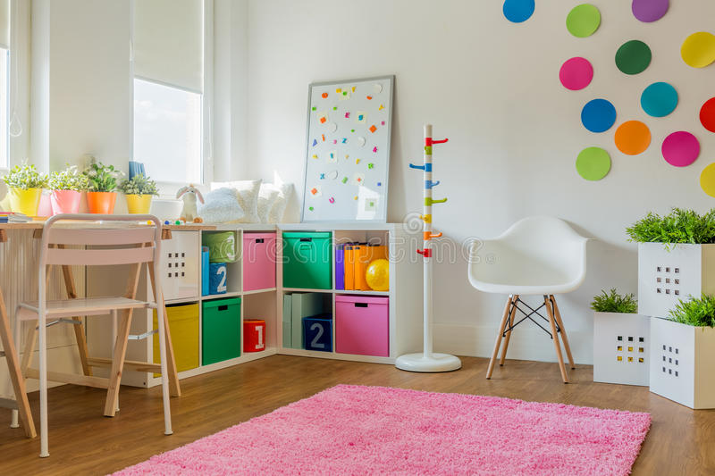 Unisex kids room. Idea for colorful designed unisex kids room royalty free stock image