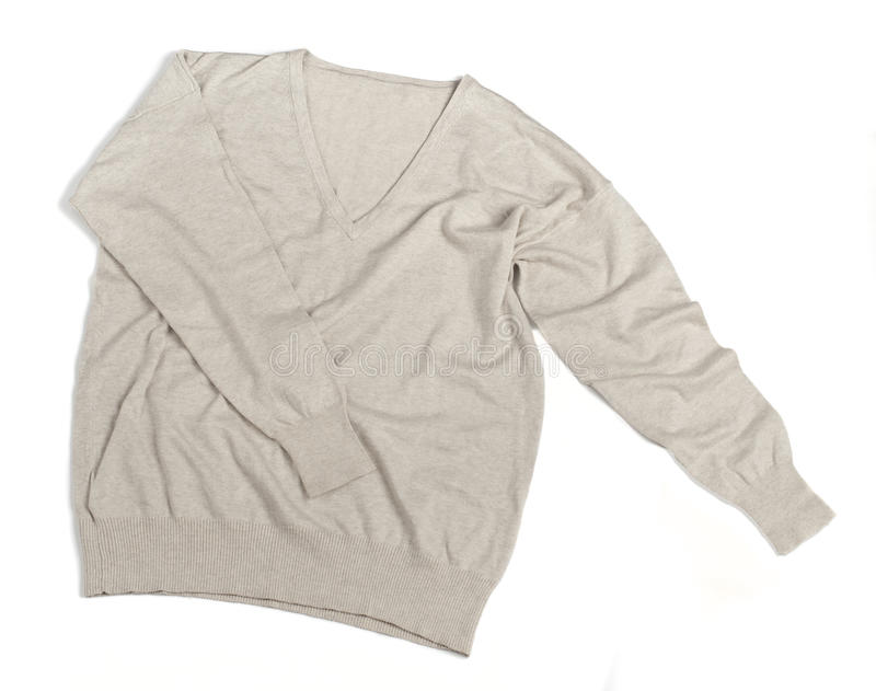 Isolated Sweater. Photo of an isolated flat blank sweater, made of wool. The color is beige and it has a V neck. It is manufactured both as mens and womens royalty free stock photography