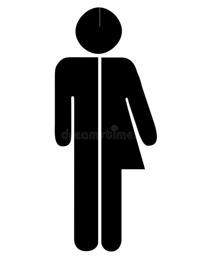 Unisextoilette, Kloalias Toilettenzeichen Mann, Frauenzahlen auf weißem Hintergrund lizenzfreies stockfoto