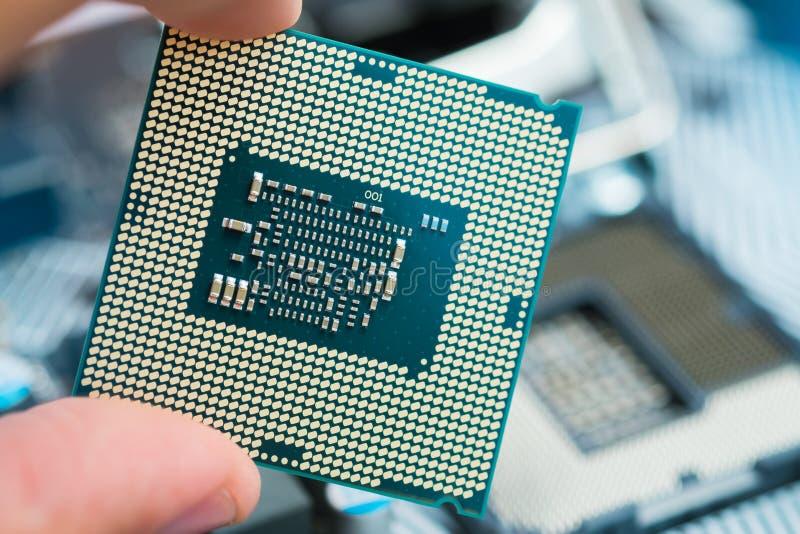 Unità centrale di elaborazione, contatti del CPU vicino sul colpo fotografie stock libere da diritti