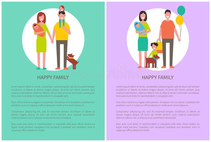 Unità del manifesto della famiglia e concetto felici di amore royalty illustrazione gratis
