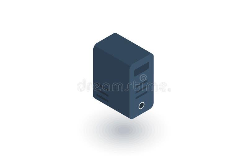 Unità del sistema informatico, icona piana isometrica del blocco vettore 3d illustrazione di stock