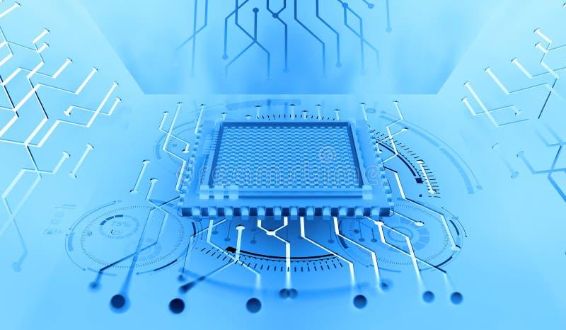 Unità di elaborazione del futuro Concetto del Cyberspace globale Innovazioni in nanotecnologia del computer illustrazione vettoriale
