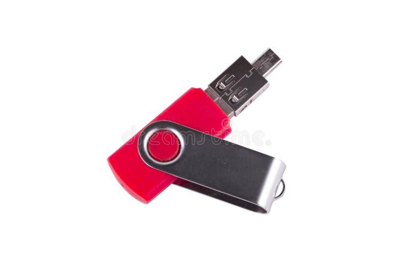 Unità USB dell'Universal Serial Bus collegata all'adattatore isolato immagini stock libere da diritti