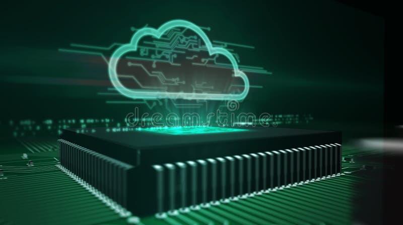 Unit? centrale de traitement ? bord avec l'hologramme de nuage images stock