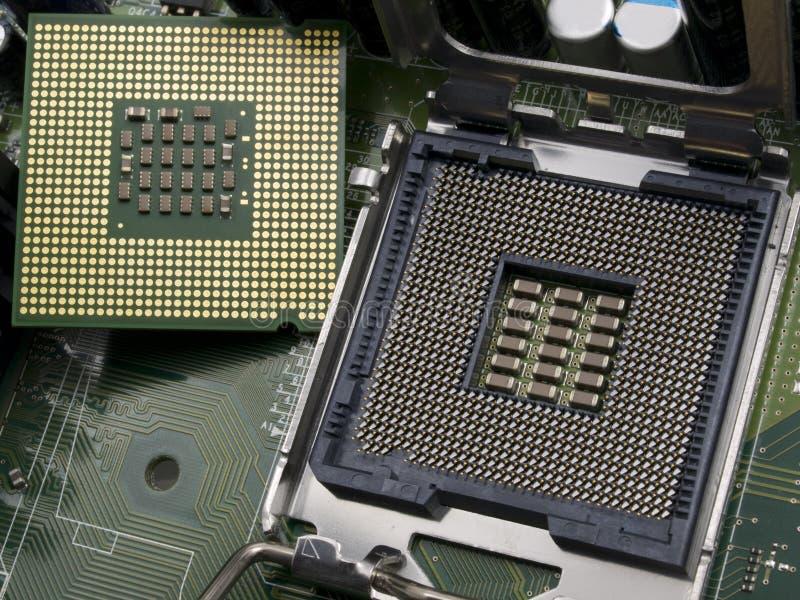 Unité centrale de traitement d'ordinateur avec la carte mère image stock