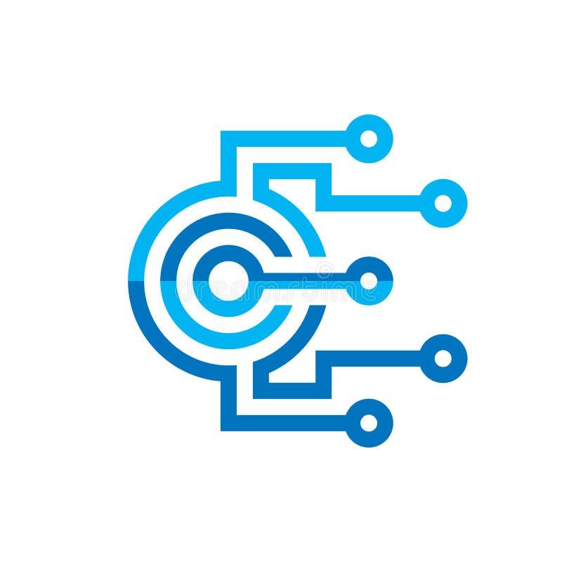 Unité centrale de traitement de processeur de Digital - dirigez le calibre de logo pour l'identité d'entreprise Signe abstrait de illustration stock