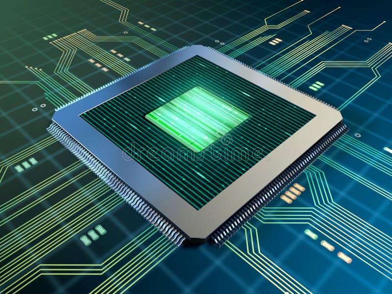 Unité centrale de traitement puissante sur un panneau de circuits imprimés illustration de vecteur
