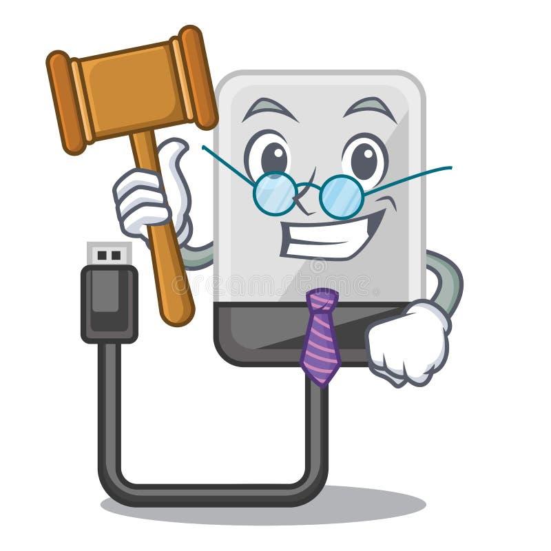 Unité de disque dur de bande dessinée de juge dans le sac illustration de vecteur