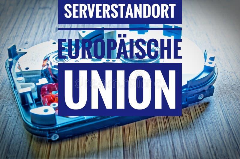 Unité de disque dur 3 5 pouces comme stockage de données avec la carte mère et en union de Serverstandort Europäische d'allemand photo libre de droits