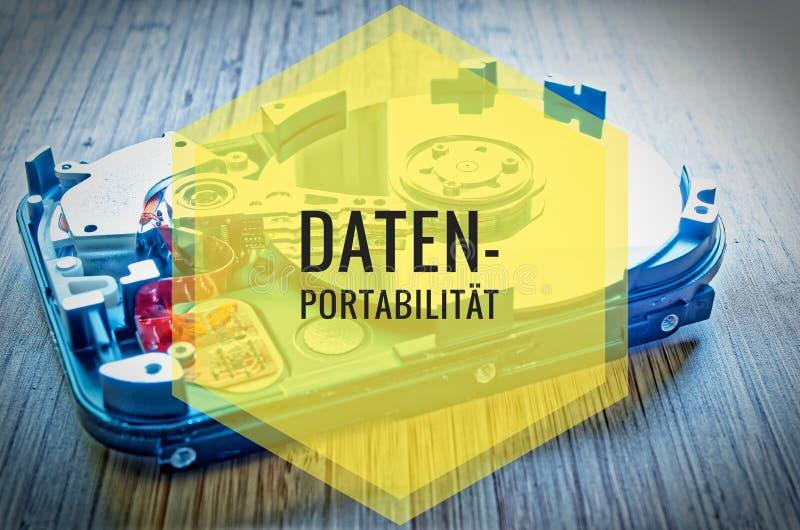Unité de disque dur 3 5 pouces comme stockage de données avec la carte mère sur une table en bambou et en allemand Datenportabili image libre de droits
