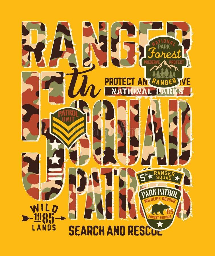 Unité de patrouille de garde forestier de parc national illustration libre de droits