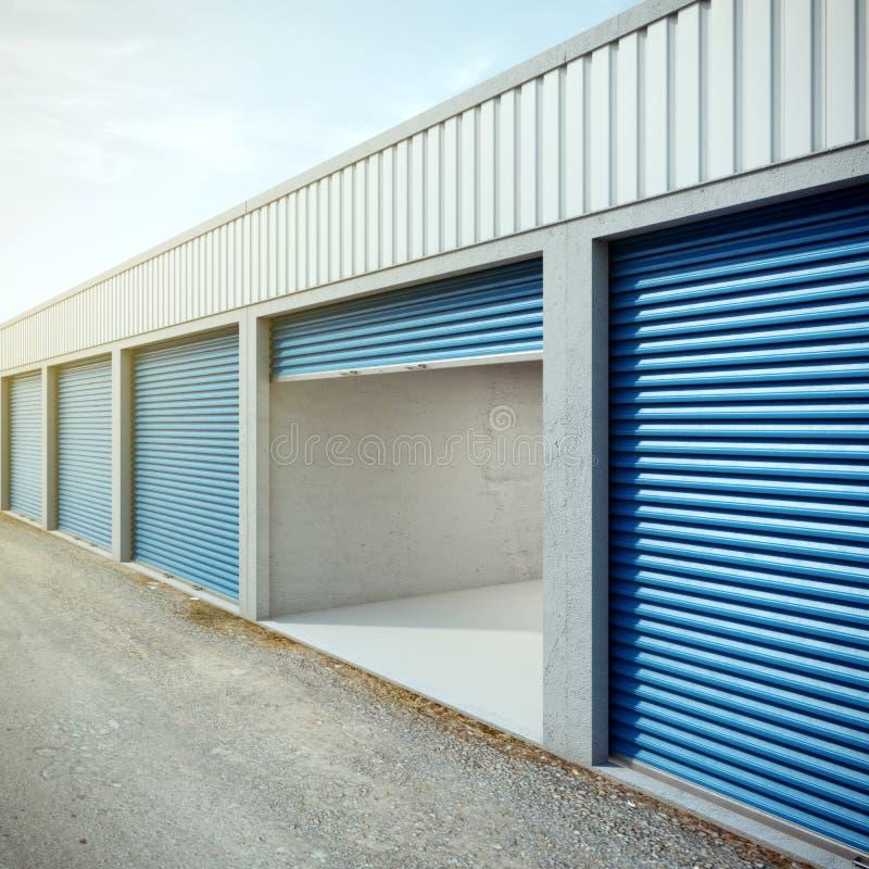 Unité de stockage vide avec la porte ouverte illustration stock