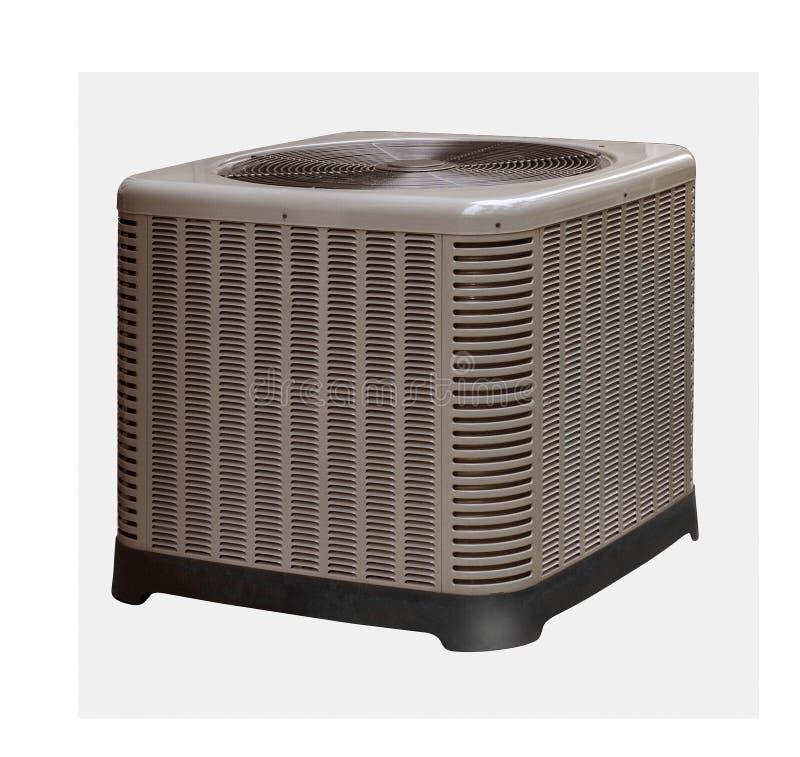 Unité extérieure de pompe à climatisation et à chaleur, silhouettée sur le blanc avec le chemin photos stock