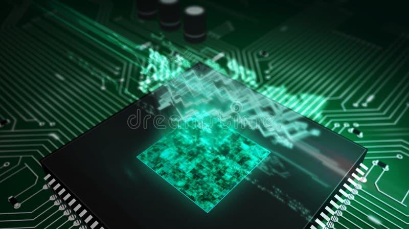 Unit? centrale de traitement ? bord avec l'hologramme courant de diagramme illustration de vecteur