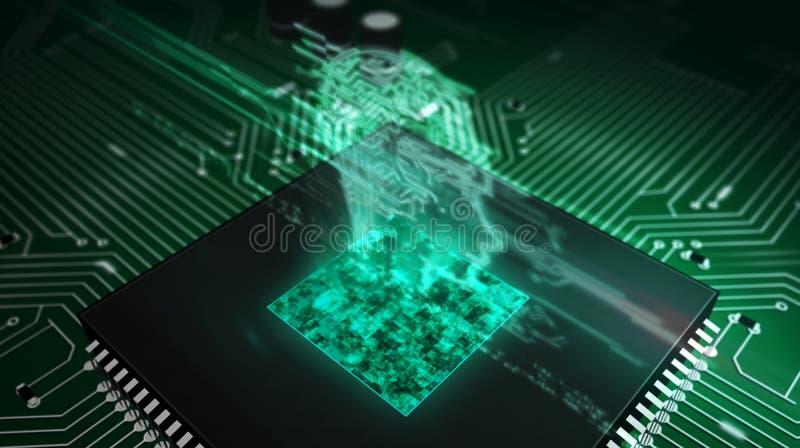 Unit? centrale de traitement ? bord avec l'hologramme de t?te d'AI illustration libre de droits