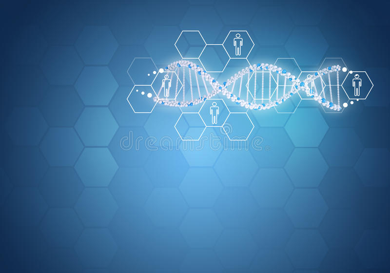 Unit toute l'ADN humaine de gène Fond avec l'hexagone illustration libre de droits