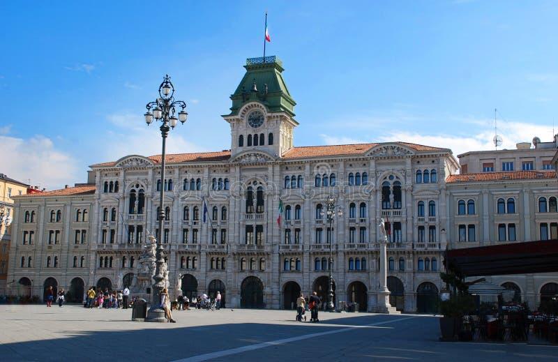 UNITA d 'Italia, unidad de la plaza del cuadrado de Italia, plaza principal en Trieste, Italia foto de archivo