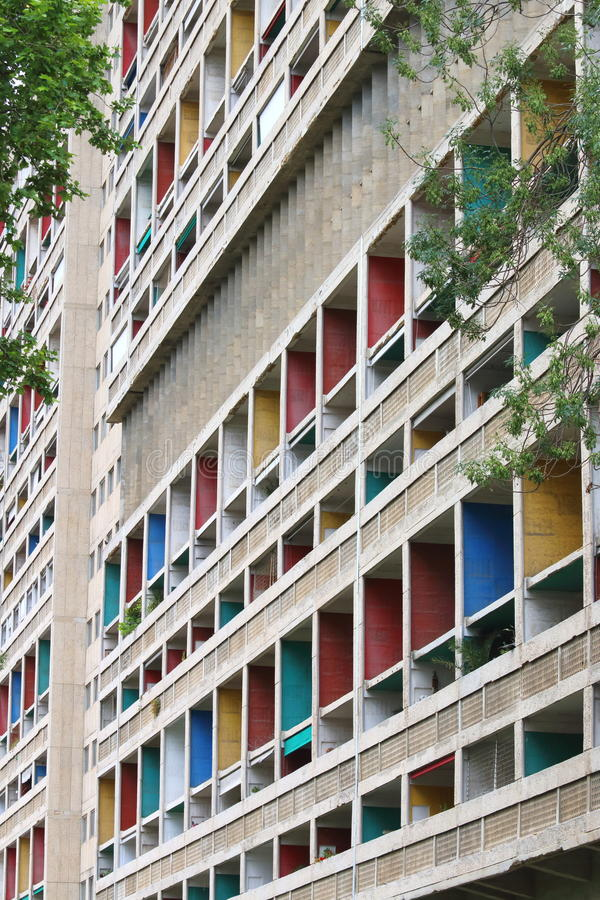 Unite d'Habitation Corbusier in Franse stad van Marseille royalty-vrije stock foto's