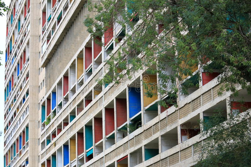 The Unite d'Habitation Corbusier in French city Marseille. The Unite d'Habitation in Marseille was the first large scale project for the famed architect Le stock image