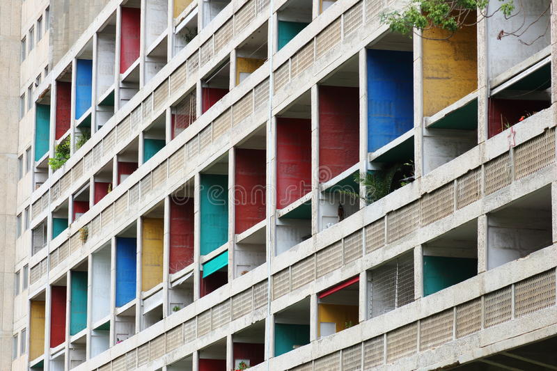 The Unite d'Habitation in French city of Marseille. The Unite d'Habitation in Marseille was the first large scale project for the famed architect Le stock photography