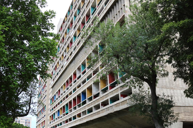 The Unite d'Habitation in Marseille, France. The Unite d'Habitation in Marseille was the first large scale project for the famed architect Le Corbusier to royalty free stock photography