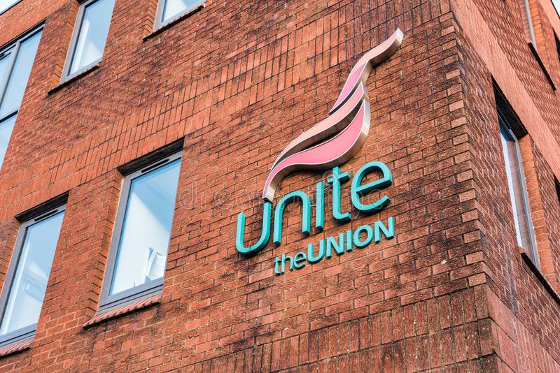 Unite the Union Office. Derry, N. Ireland -Dec 15, 2019: The Unite sign outside its office  in Derry, Northern Ireland royalty free stock photo