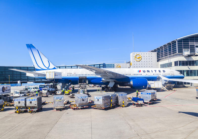 United Aircraft standing at terminal 1 in Frankfurt royalty free stock photography
